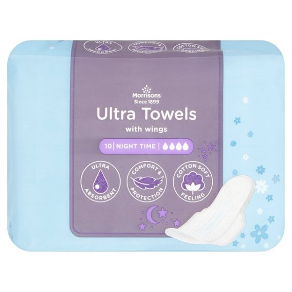 Morrisons Ultra Towels Night Time Wings 10s-20698